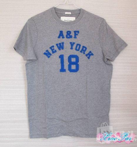 美国代购正品*Abercrombie Fitch AF小鹿 男士短袖T恤 灰色数字