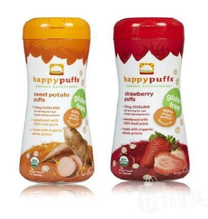 (美国直邮)HappyBaby有机全麦泡芙婴幼儿零食 番薯草莓品味 60g 2罐组合