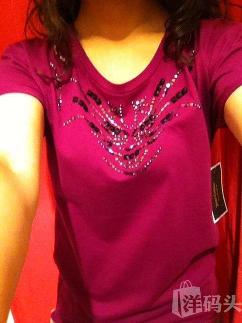 清仓juicy couture 纯棉水钻钉珠宽松式卷边袖T恤