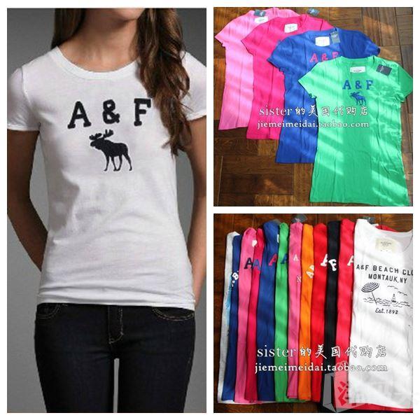 国内现货美国正品Abercrombie Fitch/AF夏女薄款 显瘦圆领短袖女