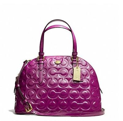 蔻驰 PEYTON OP ART EMBOSSED PATENT CORA DOMED SATCHEL_F25705
