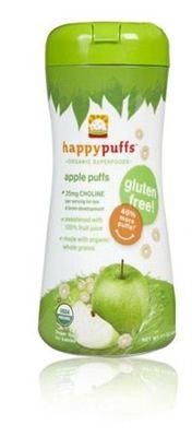 (美国直邮)HappyBaby有机全麦泡芙婴幼儿零食 香蕉苹果味 60g 2罐组合