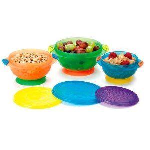 美国直邮munchkin麦肯奇婴儿彩色带盖吸盘碗儿童餐具不含BPA拆卖