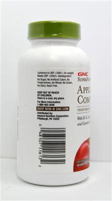美国直邮 美国GNC加强型苹果醋纤体片90粒减肥排毒养颜 2瓶价格