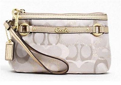 【特价】COACH F47837 缎面 帆布 零钱包/手包/腕包/手拿包