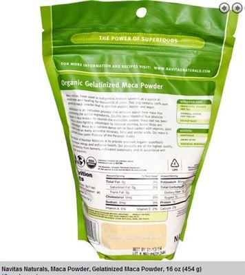 Navitas Naturals 有机秘鲁纯玛卡粉,100%纯补精调血454克