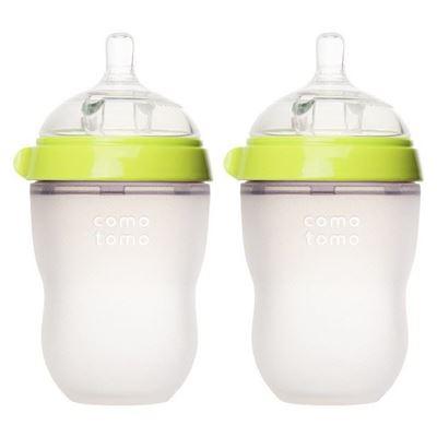 美国直邮 Comotomo 可么多么 母乳硅胶 奶瓶 250ml 两个装粉色绿色