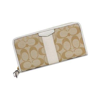 COACH 蔻驰女款棕配白色帆布长款钱包钱夹F51710美国直邮