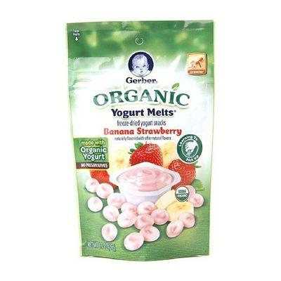 美国直邮 GERBER嘉宝有机草莓香蕉混合酸奶溶豆28g 好吃零食