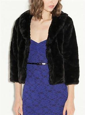 GUESS 环保小皮草上衣外套四分之三袖长,百搭裤装裙装