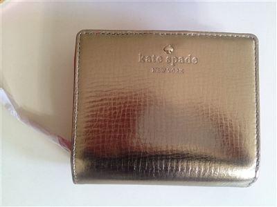 现货kate spade 真皮短款 金色钱包 PWRU2255 带礼盒