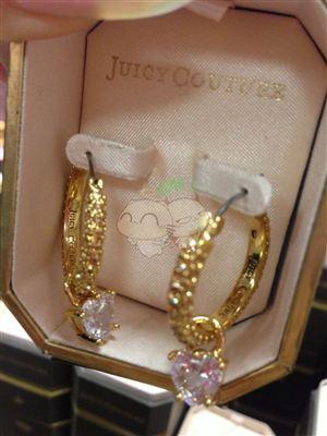 美国代购 Juicy couture  水晶大心闪闪耳钉预定