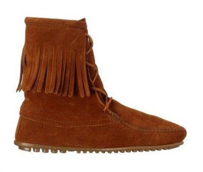 美国直邮 迷你唐卡minnetonka单层流苏豆豆底平跟真皮系带女短靴