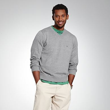 Tommy男款V领针织线衫毛衣 纯色经典款