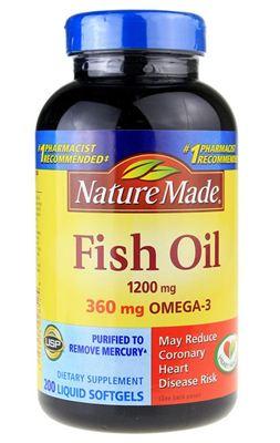 美国原装Nature Made Fish Oil 深海鱼油1200mg200粒 2瓶装