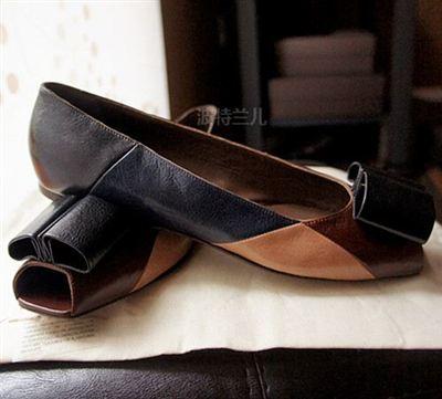 美国直邮意大利低调大牌MARNI玛尼拼接色全皮鱼嘴平底鞋4折特价!