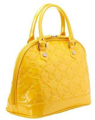 【Hello Kitty】logo黄色压花手提包