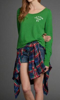 包邮包税 baoAbercrombie & Fitch AF 绿色 长袖 卫衣 M码