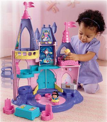美国包邮!Fisher Price费雪Little People迪斯尼公主粉色音乐城堡