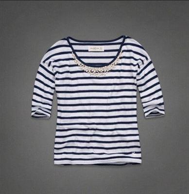 美国代购Abercrombie&Fitch AF女式珠宝领中袖T恤AUDREY SHINE