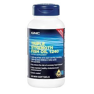 GNC健安喜五倍纯净三重深海鱼油1240mg迷你90粒无胆固醇