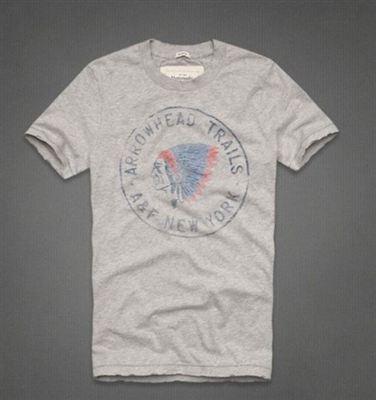 美国代购Abercrombie&Fitch AF男式圆领T恤印第安头像JOHNS BROOK