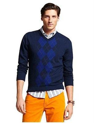 Tommy Hilfiger Men's Argyle Sweater 汤米菱形花纹V领长袖针织
